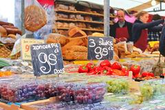 Sale of food products on the market  in Delft, Netherlands Royalty Free Stock Image