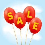 Sale. Four balloons in the sky. Vector illustration Stock Image