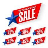 Sale för veterandag klistermärkear Royaltyfria Bilder