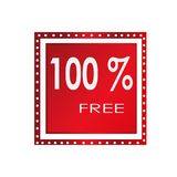 Sale 100% free banner design over a white background, vector illustration. 
