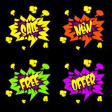 Sale, Free, Offer Text in Comic book style Royalty Free Stock Image
