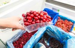 Sale of fresh frozen berries stock images