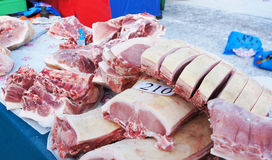 Sale of fresh meat on the market Stock Photo