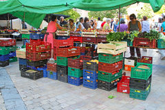 Sale of fruit and vegetables in street of Besalu in Spain. Besalu, Spain - September 09, 2014: Sale of fruit and vegetables in street of Besalu in Spain. Fruit royalty free stock photo