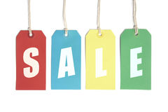Sale Fun!. Sale display concept using price tags. Isolated on white Stock Photography