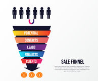 Sale Funnel infographics with stages. Lead concept with arrow, strategy to income. Can be used for business Stock Photo