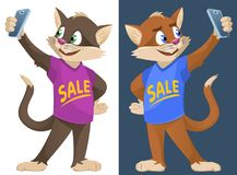 Sale. Funny cartoon cats in colorful T-shirts making selfie. Cartoon styled vector illustration. No transparent objects. Elements is grouped. On dark Royalty Free Stock Images