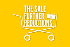 The sale further reductions poster with a basket. Vector illustration for your design. Advertising sales poster with shopping cart, package with bow and vector illustration