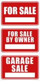 For Sale and Garage Sale signs Stock Images