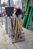 Sale of garden tools, near the building materials shop royalty free stock photography
