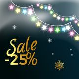 Sale -25 Garlands Snowflake Vector Illustration. Sale -25 , poster depicting discount with garlands and snowflakes as decorative elements vector illustration  on Stock Image