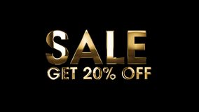 SALE get 20% off - text animation royalty free illustration