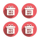 Sale gift box tag icons. Discount symbols Stock Image