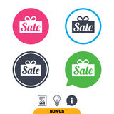 Sale gift sign icon. Special offer symbol. Royalty Free Stock Photography