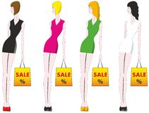 Sale. Girls with shopping in hands Royalty Free Stock Images