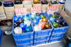 Sale glass in shop Stock Photo