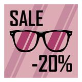 Sale of glasses on a pink background, a 20 percent discount. Fashionable glasses for a discount, collection sale Royalty Free Illustration