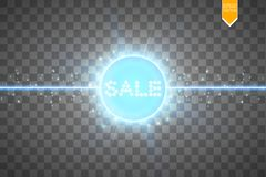 Sale glowing neon sign on the blue background. Light vector background for your advertise, discounts and business.  Royalty Free Stock Photography