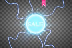 Sale glowing neon sign on the blue background. Light vector background for your advertise, discounts and business.  Royalty Free Stock Images