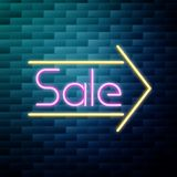 Sale glowing neon sign. On brick wall background. Vector illustration, EPS 10 Stock Photo