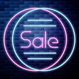 Sale glowing neon sign. On brick wall background. Vector illustration, EPS 10 Stock Photography