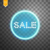 Sale glowing neon sign on the transparent background. Light vector background for your advertise, discounts and business.  Royalty Free Stock Photography