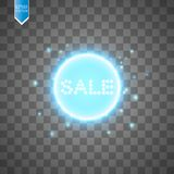 Sale glowing neon sign on the transparent background. Light vector background for your advertise, discounts and business.  Royalty Free Stock Photo