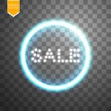 Sale glowing neon sign on the transparent background. Light vector background for your advertise, discounts and business.  Stock Image