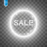 Sale glowing sign on the transparent background. Light vector background for your advertise, discounts and business.  Stock Photos