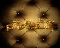 Sale_gold. Beautiful golden inscription on the sale of vintage background Stock Photos