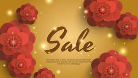 Sale gold background with red paper flowers. Banner can be used for a flyer, poster, discounts, marketing, sales, web title. Premium gold banner with space for Stock Photo
