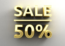 Sale 50% - gold 3D quality render on the wall background with so. Ft shadow Royalty Free Stock Images