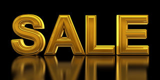 Sale. In gold letters - 3d render Stock Image