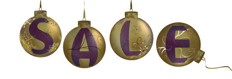 Sale Gold metalic christmas balls Royalty Free Stock Images