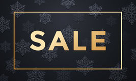 Sale gold text placard with snowflakes pattern and golden frame. Premium luxury Christmas Sale background with golden text, snowflakes pattern and gold glitter Stock Photography