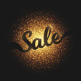 Sale Golden Glowing Particles Vector Background. Sale bright golden shimmer glowing round particles vector background. Scatter shine tinsel light explosion Royalty Free Stock Images