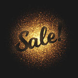 Sale Golden Glowing Particles Vector Background. Sale bright golden shimmer glowing round particles vector background. Scatter shine tinsel light explosion Royalty Free Stock Photography