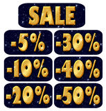 Sale, golden letters Royalty Free Stock Photography