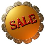 Sale (Golden Seal Red Lettering). A 3D Golden seal with with text SALE in red metalliv lettering Stock Images