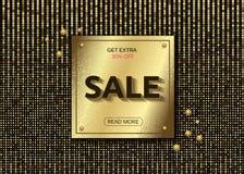 Sale golden vectoGolden plate on glitter gold black background. Banner template. Sale advertising.r banner Stock Image