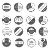 Sale gray circle icons set for discount shop eps10 Stock Images