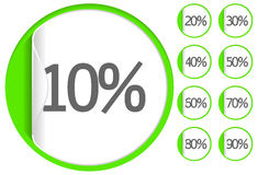 Sale. Green sale sticker or label up to 10-90 percent vector Stock Photography