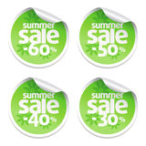 Sale green stickers Stock Photo