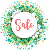 Sale greeting card, poster with flowers Royalty Free Stock Photography