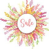 Sale greeting card, poster with flowers Royalty Free Stock Photos
