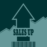 Sale grow up arrow and bar code Royalty Free Stock Images