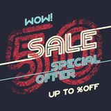 Sale grunge vintage poster. Special offer template ut to 50 off. Vector illustration Stock Photo
