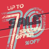 Sale grunge vintage poster. Special offer template ut to 70 off. Vector illustration Stock Photo