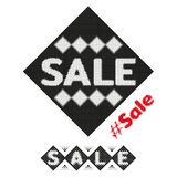 Sale halftone design element. Dotted grunge stamp from ink splashes. Textured label tag for sale. Vector Royalty Free Stock Images