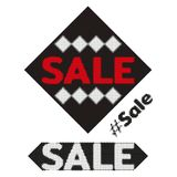 Sale halftone design element. Dotted grunge stamp from ink splashes. Textured label tag for sale. Vector Stock Image